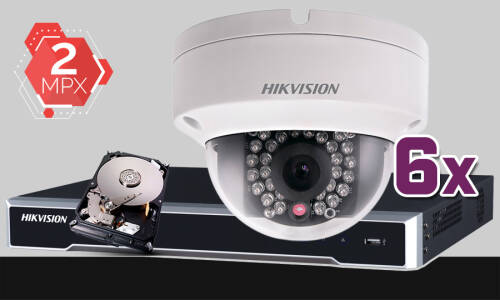 Zestaw do monitoringu IP Hikvision , 2Mpix, FULL HD, 6x kamera DS-2CD2120F-I/2.8MM, rejestrator DS-7608NI-K2, dysk 1TB, akcesoria
