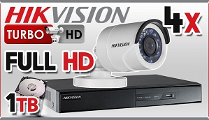 Zestaw do monitoringu Turbo HD Hikvision, 2Mpix, FULL HD, 4x kamera DS-2CE16D1T-IR/3.6mm, rejestrator DS-7208HQHI-F2/N/A , dysk 1TB, akcesoria