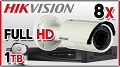 Zestaw do monitoringu IP Hikvision, 2Mpix, FULL HD, 8x kamera DS-2CD2620F-I, rejestrator DS-7616NI-E2/A, dysk 1TB, akcesoria