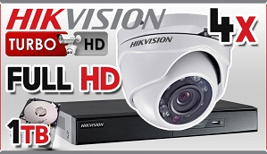 Zestaw Do Monitoringu Turbo HD Hikvision, 2Mpix, FULL HD, 4x kamera DS-2CE56D1T-IRM, rejestrator DS-7204HQHI-F1/N/A, dysk 1TB, akcesoria