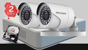 Zestaw do monitoringu Turbo HD Hikvision, 2x kamera Full HD DS-2CE16D0T-IR, rejestrator DS-7104HQHI-F1/N, dysk twardy 500GB, akcesoria do monitoringu