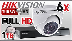 Zestaw do monitoringu Turbo HD Hikvision, 2Mpix, FULL HD, 6x kamera DS-2CE56D1T-IRM, rejestrator DS-7208HQHI-F2/N/A, dysk 1TB, akcesoria