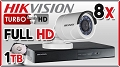 Zestaw do monitoringu Turbo HD Hikvision, 2Mpix, FULL HD, 8x kamera DS-2CE16D1T-IR/3.6mm, rejestrator DS-7208HQHI-F2/N/A, dysk 1TB, akcesoria