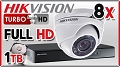 Zestaw do monitoringu Turbo HD Hikvision, 2Mpix, FULL HD, 8x kamera DS-2CE56D1T-IRM, rejestrator DS-7208HQHI-F2/N/A, dysk 1TB, akcesoria