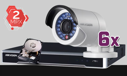 Zestaw Do Monitoringu IP Hikvision, 2Mpix, FULL HD, 6x kamera DS-2CD2020F-I/4MM, rejestrator DS-7608NI-K2, dysk 1TB, akcesoria