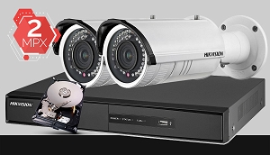Zestaw do monitoringu IP Hikvision, 2Mpix, FULL HD, 2x kamera DS-2CD2620F-I, rejestrator DS-7604NI-K1, dysk 500GB, akcesoria