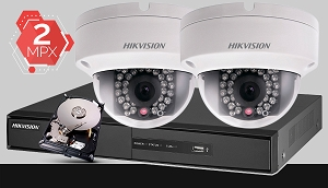 Zestaw do monitoringu IP Hikvision, 2Mpix, FULL HD, 2x kamera DS-2CD2120F-I/2.8MM, rejestrator DS-7604NI-K1, dysk 500GB, akcesoria