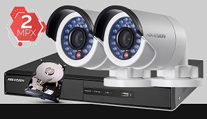 Zestaw do monitoringu IP Hikvision, 2Mpix, FULL HD, 2x kamera DS-2CD2020F-I/4MM, rejestrator DS-7604NI-K1, dysk 500GB