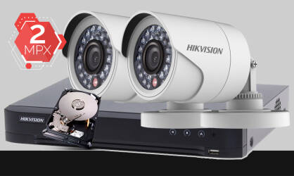 Zestaw do monitoringu Turbo HD Hikvision, 2x kamera Full HD DS-2CE16D0T-IR, rejestrator DS-7204HUHI-K1, dysk twardy 500GB, akcesoria do monitoringu