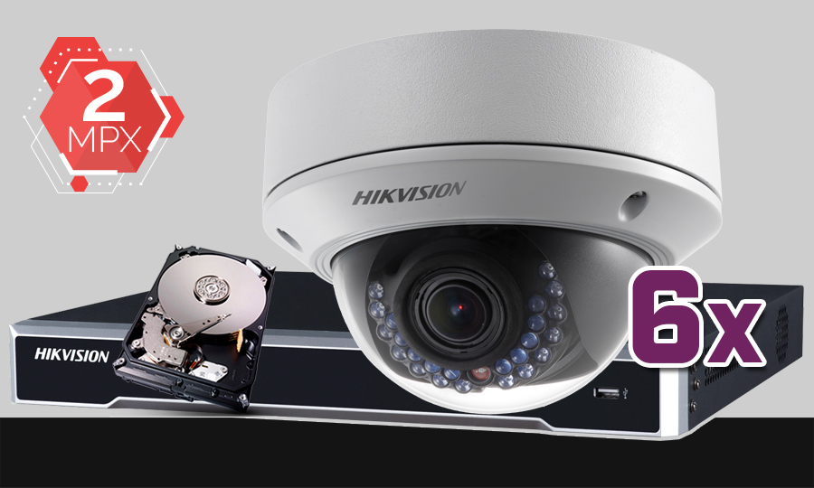 Zestaw do monitoringu IP Hikvision, 2Mpix, FULL HD, 6x kamera DS-2CD2720F-I, rejestrator DS-7608NI-K2, dysk 1TB, akcesoria