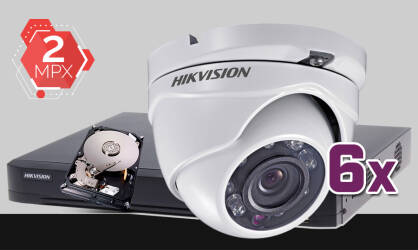 Zestaw do monitoringu Turbo HD Hikvision, 6x kamera Full HD DS-2CE56D0T-IRM, rejestrator DS-7208HUHI-K2, dysk twardy 1TB, akcesoria do monitoringu
