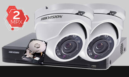 Zestaw do monitoringu Turbo HD Hikvision, 2x kamera Full HD DS-2CE56D0T-IRM, rejestrator DS-7204HUHI-K1, dysk twardy 1TB, akcesoria do monitoringu